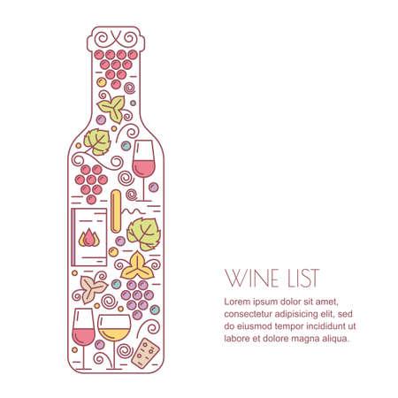 wine making: wine background. Line icons set, and design elements. Wine bottle, glass, grape wine and leaf illustration. Concept for wine list, bar or restaurant menu, natural alcohol drinks.