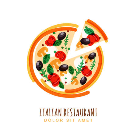 basil: illustration of sliced italian pizza with tomato, mushrooms, olives, basil, and mozzarella. design template. Trendy concept for, restaurant menu, cafe, fast food, pizzeria. Illustration
