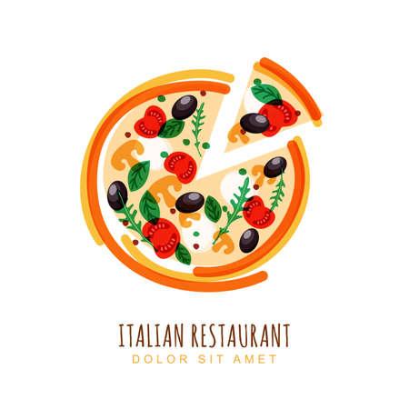 mozzarella: illustration of sliced italian pizza with tomato, mushrooms, olives, basil, and mozzarella. design template. Trendy concept for, restaurant menu, cafe, fast food, pizzeria. Illustration