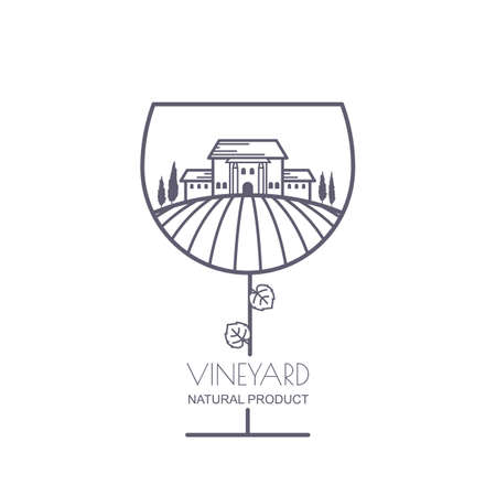 Tuscany landscape with vineyard fields, villa, trees in wine glass shape. Outline illustration of rural landscape. Trendy concept for wine list, bar or restaurant menu, labels and package. Çizim