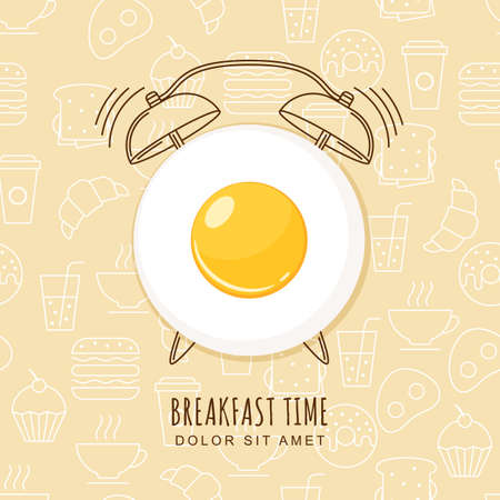 Fried egg and outline alarm clock on seamless background with linear food icons. design for breakfast menu, cafe, restaurant.  design template. Food background.
