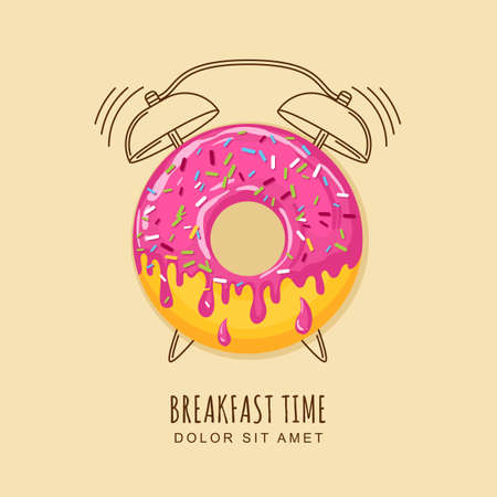 illustration of donut with pink cream and outline alarm clock. Concept for breakfast menu, cafe, restaurant, desserts, bakery. design template. Food background. Vectores
