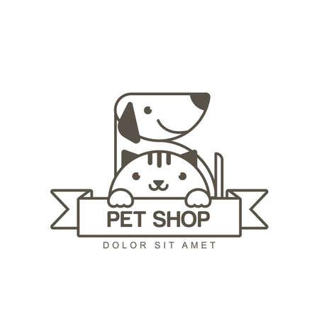 contour illustration du museau mignon de chat et de chien en souriant. modèle de conception de l'icône. concept de la mode pour le magasin pour animaux de compagnie ou vétérinaire.
