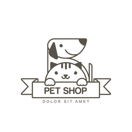 shop sign: outline illustration of cute muzzle of cat and smiling dog. icon design template. Trendy concept for pet shop or veterinary.