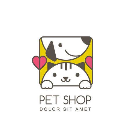 contour illustration du museau mignon de chat et de chien en souriant. modèle de conception de l'icône. étiquette de forme carrée. concept de la mode pour le magasin pour animaux de compagnie ou vétérinaire.