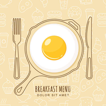 Fried egg and hand drawn pan, fork and knife on seamless background with outline food icons. design for breakfast menu, cafe, restaurant.  design template. Food background.
