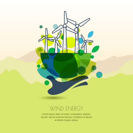 Human hand holding earth with wind turbines. outline illustration of windmill. Wind alternative energy generator. Background design for save earth day. Environmental, ecology business concept.