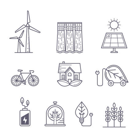 protection concept: Concept for environment, ecology, ecosystem and green technology themes. outline icons set. Illustration of eco transport, nature protection, solar power, windmill and water power station.