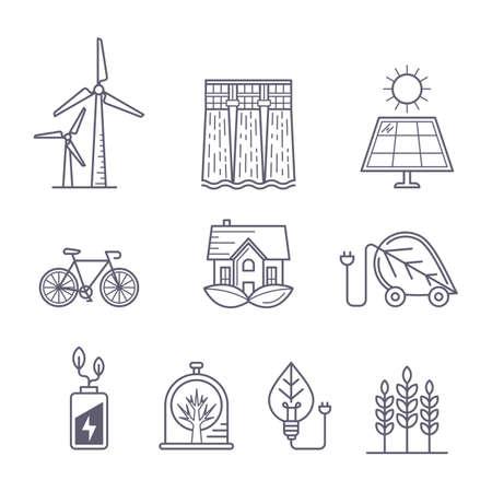 ecosistema: Concepto para el medio ambiente, ecología, ecosistema y los temas de tecnología verde. Iconos del contorno. Ilustración de transporte ecológico, protección de la naturaleza, la energía solar, molino de viento y central eléctrica de agua.