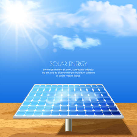 power generation: Realistic illustration of solar battery, power generation technology. Alternative energy and environmental business concept. Sand, blue sky with sun light background.