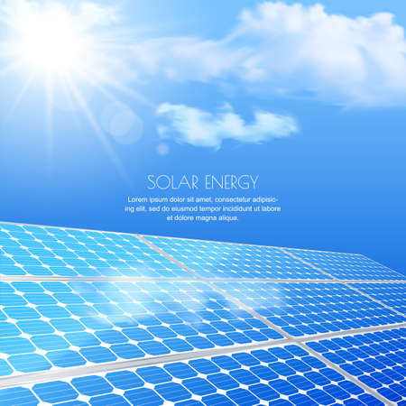 energy saving: Close up of solar battery, power generation technology. Realistic illustration. Alternative energy and environmental business concept. Blue sky with sun light, abstract background.