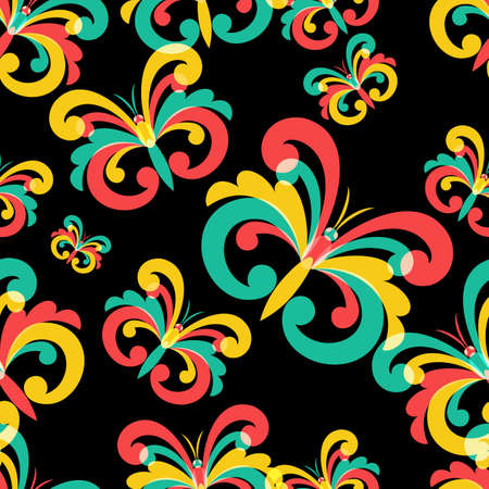 vibrance: seamless pattern with multicolor butterflies on black background. Abstract background. Trendy design concept for fabric design, textile print, wrapping paper or web background.