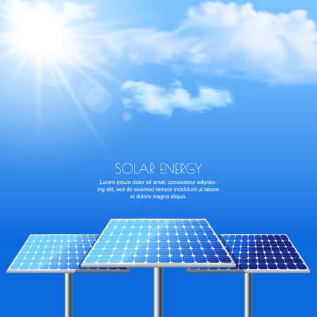energies: Realistic illustration of solar batteries on cloudscape blue background. Power generation new technology. Alternative energy and environmental business concept.