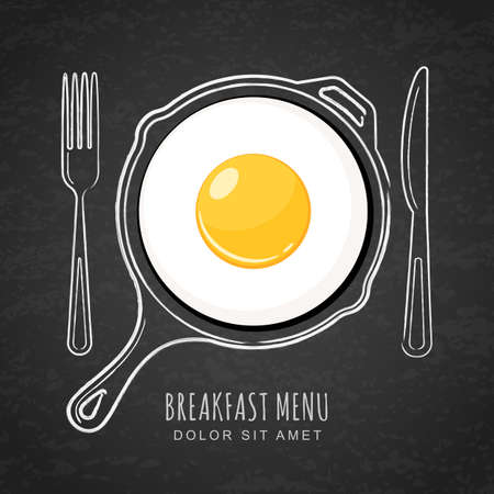 Fried egg and  outline watercolor pan, fork and knife on textured black board background. design for breakfast menu, cafe, restaurant. Fast food background. Ilustração