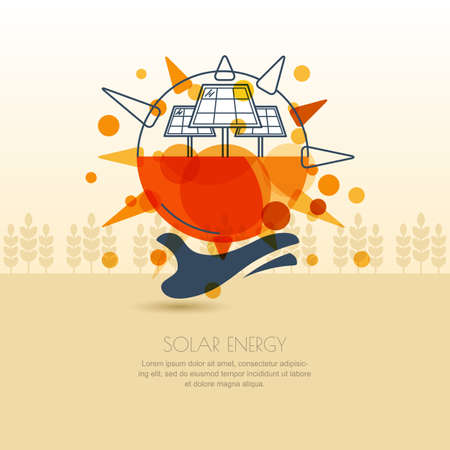 human energy: Human hand holding sun with solar battery. outline illustration of solar alternative energy generator. Background design for save earth day. Environmental and ecology business concept.