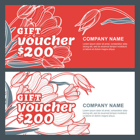 beauty shop: Vector gift voucher with tulip flowers. Business floral card template. Abstract red and white background. Design concept for floral shop, beauty salon, boutique, flyer, banner, greeting card.