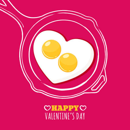 Valentines day greeting card with romantic breakfast illustration. Fried egg in heart shape and hand drawn watercolor pan. Concept for holiday menu in cafe or restaurant, banner, poster design.