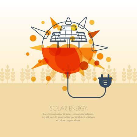 Alternative Erneuerbare Solarenergie Und Umweltkonzept. Vorlage Für ...