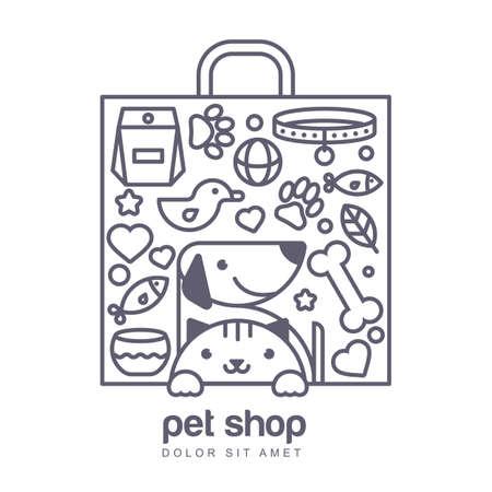 Outline illustration de chat mignon et le chien dans sac forme. Les marchandises pour les animaux, vecteur icônes définies. concept abstrait pour pet shop ou vétérinaire.
