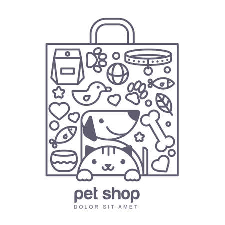 shop sign: Outline illustration of cute cat and dog in shopping bag shape. Goods for animals, vector icons set. Abstract design concept for pet shop or veterinary.