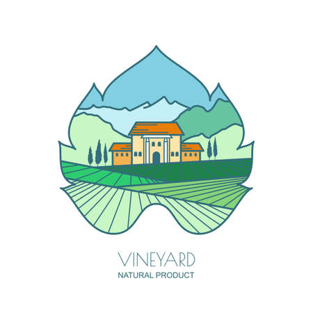 harvesting: Green landscape with vineyard fields, villa, mountains in grapes leaf shape. Outline vector illustration of rural landscape. Design concept for wine list, bar or restaurant menu, labels and package.