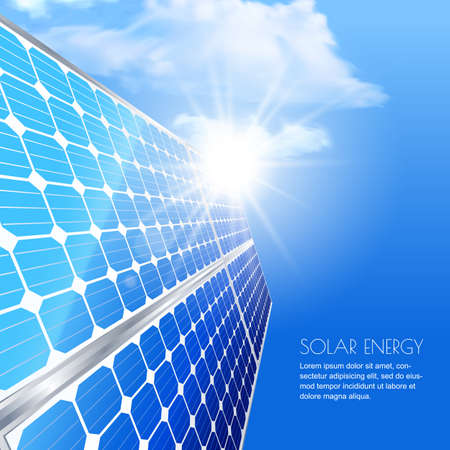 pila: la energía solar renovable y alternativa concepto de medio ambiente. Plantilla para la bandera, folleto, presentación. Cierre de batería solar, tecnología de generación de energía. Ilustración vectorial realista.