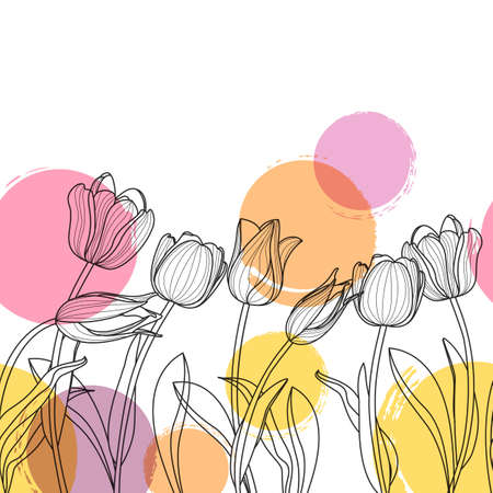 Vector floral seamless horizontal background. Black and white hand drawn tulip flowers and watercolor blots. Spring background for greeting cards, textile print, banners and decoration. Vettoriali