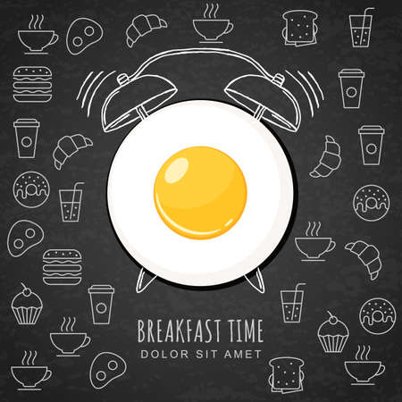 Fried egg and hand drawn watercolor alarm clock on textured black board background with outline food icons. Vector design for breakfast menu, cafe, restaurant. Fast food background. Illustration