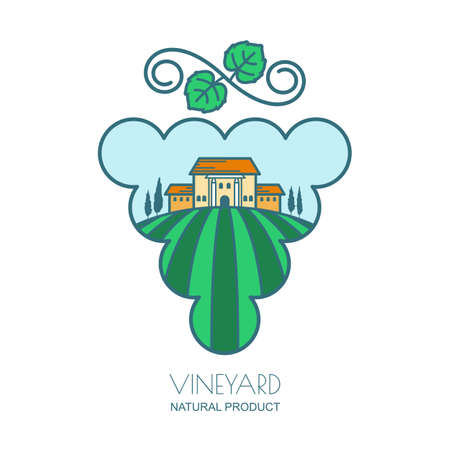 wine grapes: Green landscape with vineyard fields, villa, trees in grape berries shape. Outline vector illustration of rural landscape. Concept for wine list, labels, package, agriculture and harvesting grapes.