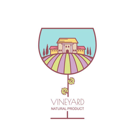 villa: Landscape with purple and green vineyard field, villa, trees in wine glass shape. Outline vector illustration of rural landscape. Concept for wine list, label, package, agriculture, harvesting grapes.