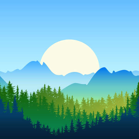 Illustration of summer or spring landscape. Sun, mountains, green pine and fir-tree forest. Nature horizontal seamless background. Evergreen trees. Vector design for environmental and ecology themes. Illustration