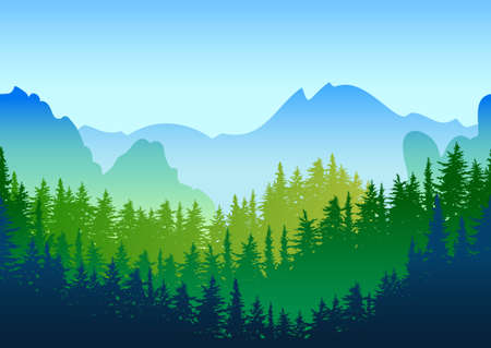 Vector summer or spring landscape. Panorama of mountains, green pine and fir-tree forest. Nature horizontal seamless background. Evergreen trees. Design for environmental and ecology themes. Vettoriali