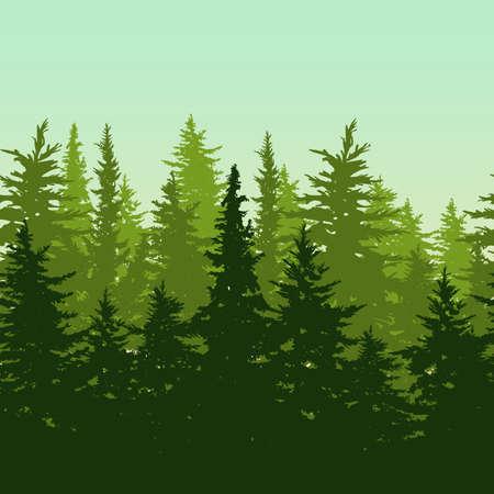 ベクトル緑松やモミの木の森と水平のシームレスな背景。常緑の木で、自然の背景。環境、エコロジー、自然保護のための概念をデザインやテーマ