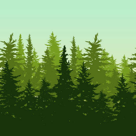Vector horizontal seamless background with green pine or fir-tree forest. Nature background with evergreen trees. Design concept for environmental, ecology, protection nature or travel themes.