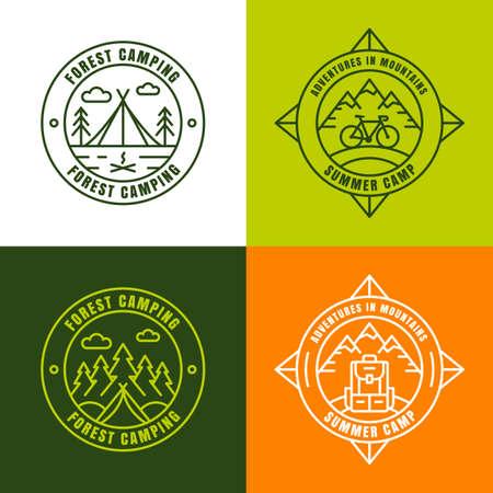 campamento: campamento de verano, los elementos de diseño de logotipo contorno. Conjunto de símbolos, emblemas y etiquetas para los viajes y actividades al aire libre. bosque de pino y abeto, a la montaña, tiendas de campaña, brújula, mochila y la bicicleta iconos.