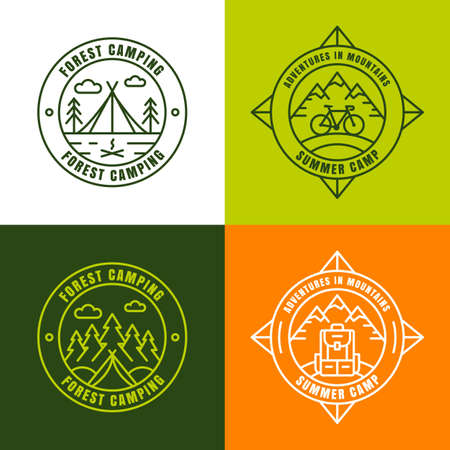 Summer camping, outline logo design elements. Set of badges, emblems and labels for travel and outdoor activity. Pine and fir-tree forest, mountain, tent, compass, backpack and bicycle icons.