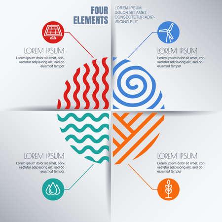 four elements: infograf�a vector plantilla de dise�o con cuatro elementos de ilustraci�n y, iconos de la ecolog�a ambiental. Resumen concepto de negocio, la energ�a renovable y alternativa, la sinergia, guardar d�a de la tierra, los viajes. Vectores
