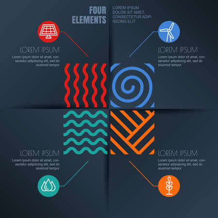 the four elements: Vector infographics template. Four elements illustration and environmental, ecology icons on black background. Concept for business, renewable and alternative energy, synergy, save earth day, travel.