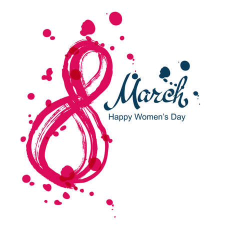 8 march: 8 March greeting card, International Womens Day. Abstract watercolor brush lettering, isolated on white background. Vector hand drawn illustration.