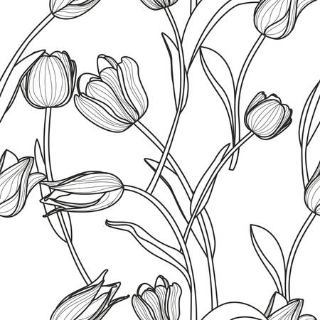 tulips isolated on white background: Vector floral seamless pattern. Black and white background with outline hand drawn tulip flowers.  Design concept for fabric design, textile print, wrapping paper or web backgrounds.