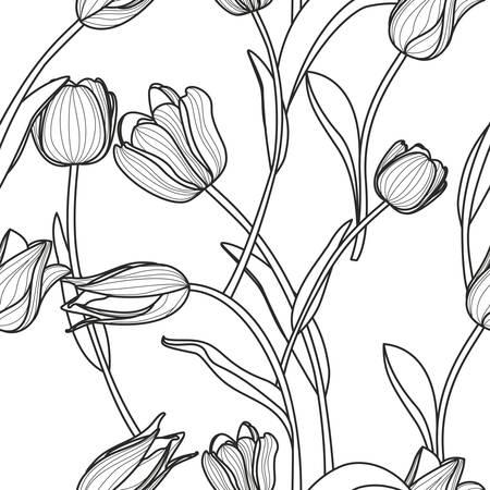 ベクター花柄シームレス パターン。概要手で黒と白の背景には、チューリップの花が描かれています。 生地デザイン、織物印刷、包装紙や web の背景のデザイン コンセプト。