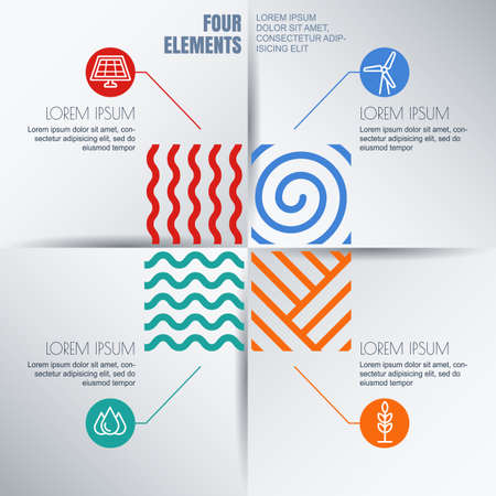 the four elements: Vector infographics design. Four elements abstract illustration and alternative energy icons on white background. Template for business, brochure, presentation, environmental and ecology themes.