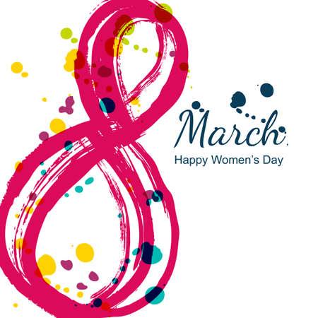 8 maart wenskaart, Internationale Vrouwendag. Abstract aquarel nummer acht en kleurrijke vlekken, geïsoleerd op een witte achtergrond. Vector hand getrokken illustratie. Stockfoto - 52163015