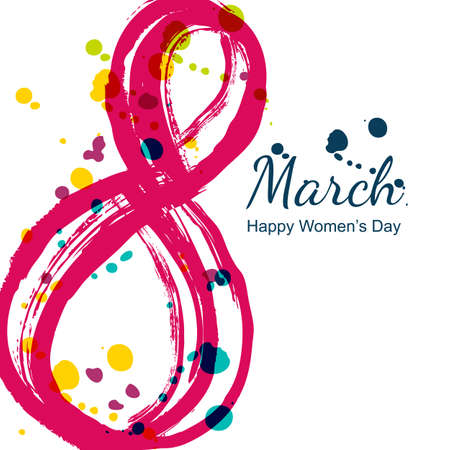 8 March greeting card, International Women's Day. Abstract watercolor number eight and colorful blots, isolated on white background. Vector hand drawn illustration. Ilustração
