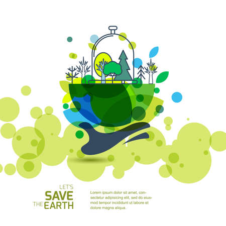 Human hand holding green earth with trees. Banner background design for save the Earth day. Environmental, ecology, nature protection and pollution concept. Vector illustration.  イラスト・ベクター素材