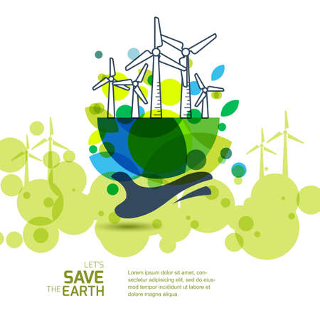 energy background: Earth with wind turbines on hand. Vector illustration of windmill. Alternative energy generator. Banner background for save earth day. Environmental, ecology, nature protection and pollution concept.