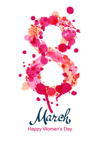 8 March vertical greeting card, flyer or banner, International Womens Day. Number eight made from pink watercolor blots and splashes. Vector hand drawn lettering illustration. Watercolor background. Illustration