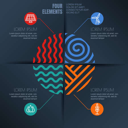 the four elements: Vector infographics design. Four elements abstract illustration and alternative energy icons on black background. Template for business, brochure, presentation, environmental and ecology themes.