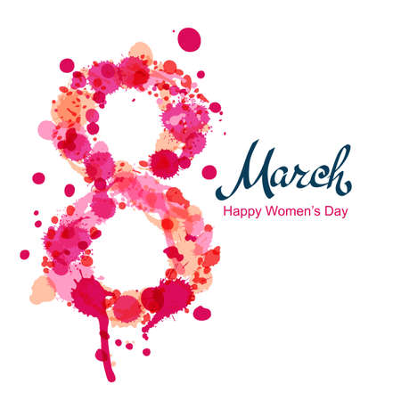 8 March square greeting card, International Women's Day. Number eight made from pink watercolor blots and splashes, isolated on white background. Vector hand drawn lettering illustration.