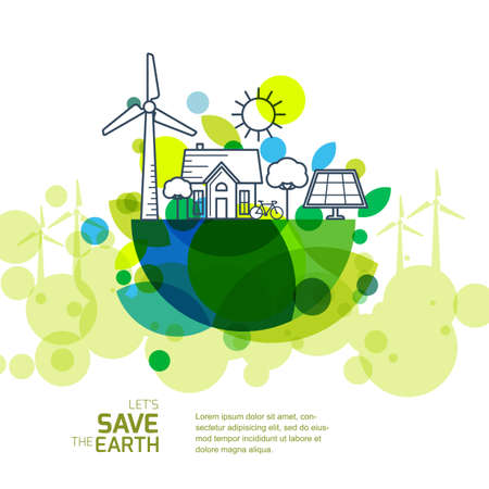 Vector illustration of earth with outline of wind turbine, house, solar battery, bicycle and trees. Background for save earth day. Environmental, ecology, nature protection and pollution concept. Stock Illustratie